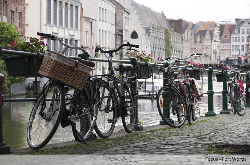 Bikes along the canal in Gent, Belgium