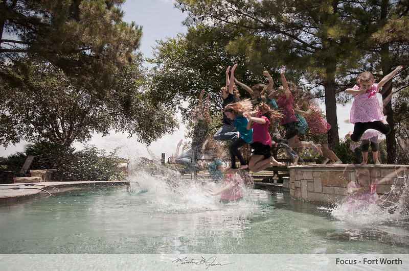 Swimming with clothes on, jumping in pool with clothes on