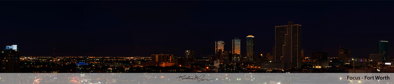 Downtown Fort Worth Night Panorama